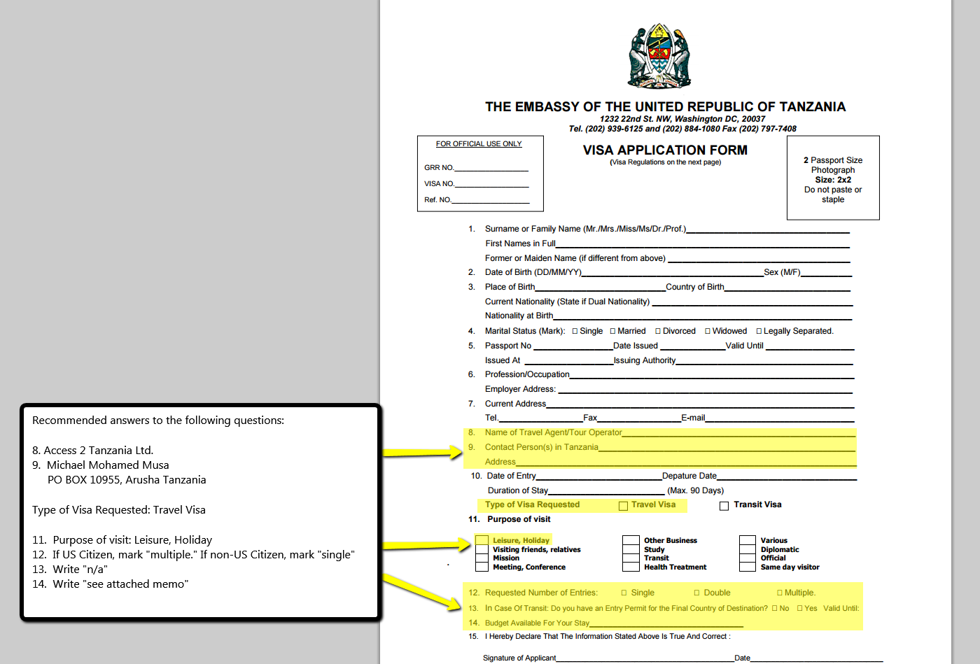 Tanzanian kenyan visa information access 2 tanzania access 2 click here to see a sample visa form and how to fill out certain questions falaconquin